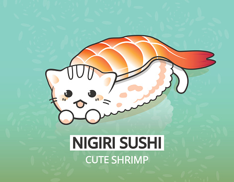Vector japanese shrimp food illustration. Kitty ebi nigiri sushi. Happy