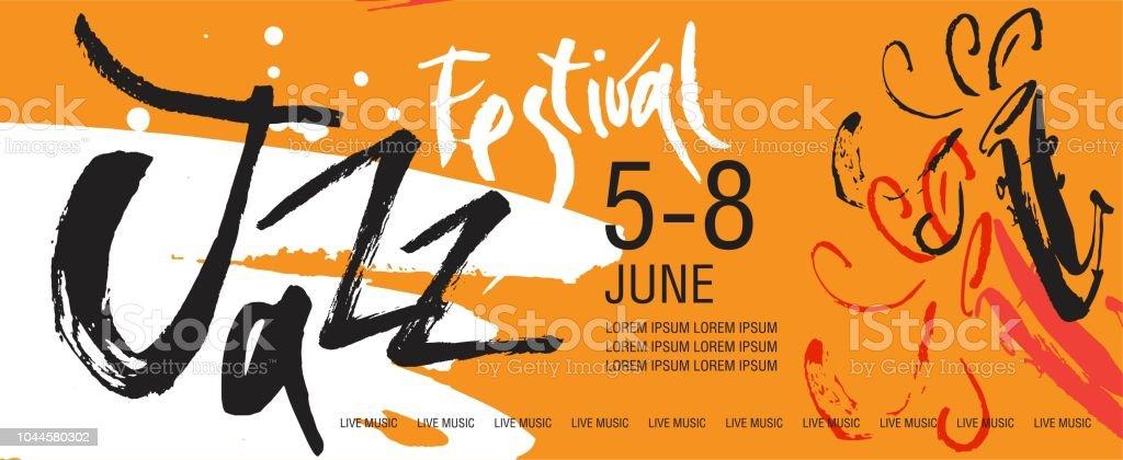 Vector Jazz festival  leaflet, ticket or invitation template vector art illustration
