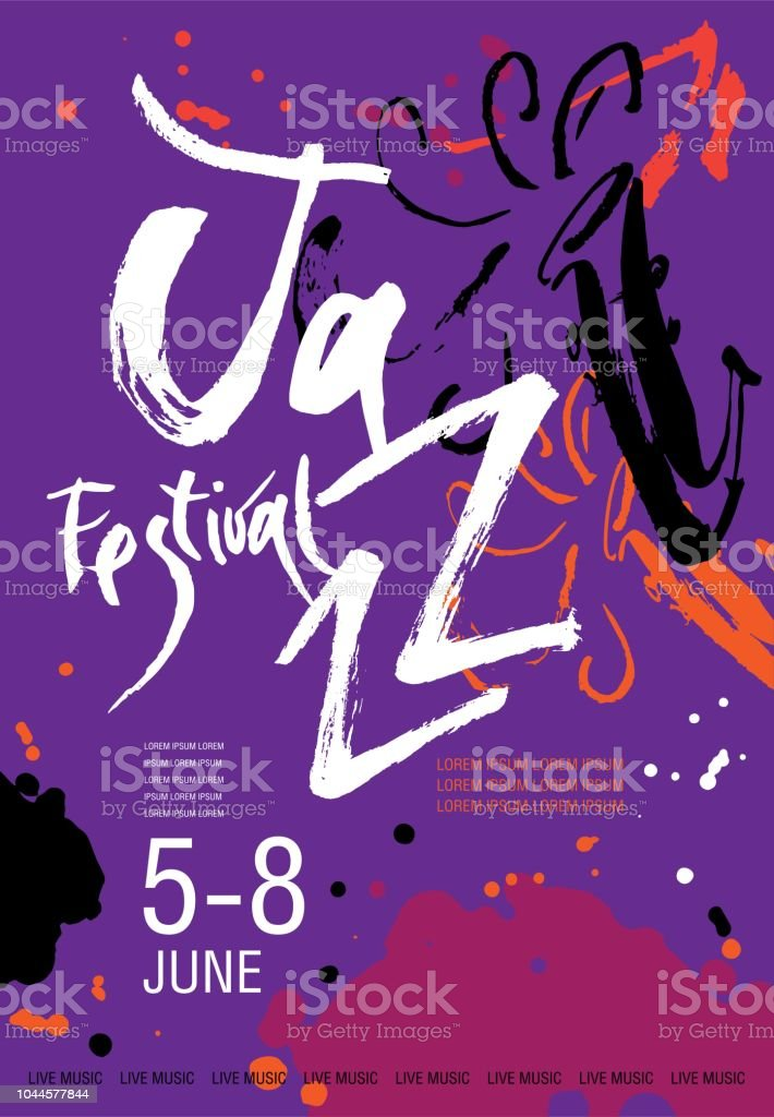 Vector Jazz festival poster template. Hand drawn illustration and lettering. Calligraphic style vector art illustration