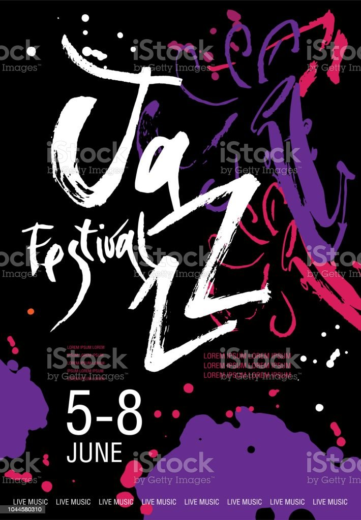 Vector Jazz festival poster template. Hand drawn illustration and lettering. Calligraphic style. Perfect for music events, jazz concerts, music store vector art illustration