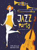 Vector jazz party poster with a dancing girl