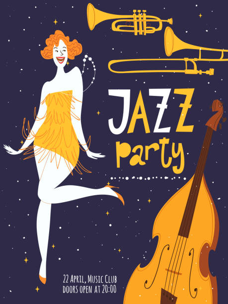 vector jazz party poster with a dancing girl - 1920s style stock illustrations, clip art, cartoons, & icons