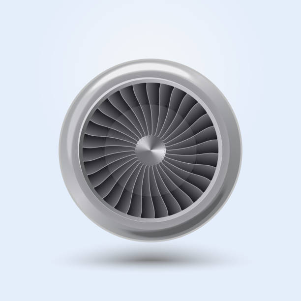 Vector Jet Engine Jet Engine Realistic front view, aircraft turbine energy fan. Vector aviation and environment summit stock illustrations