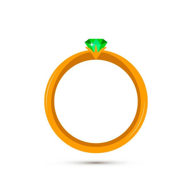 vektor-schmuck-symbol - grün smaragd in goldenen ring. schatz, hochzeit und mode zubehör sammlung für poster, banner, logo, symbol, promo. luxus-edelstein, piktogramm isoliert auf weißem hintergrund - hochzeitsanstecker stock-grafiken, -clipart, -cartoons und -symbole