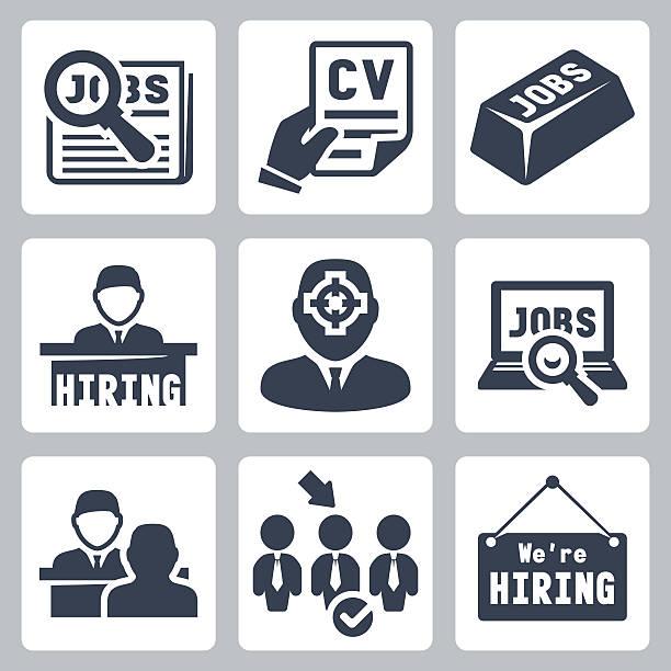 вектор job hunting, job search, human resources icons set - unemployment stock illustrations