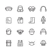 Vector job safety and protection icon set in thin line style
