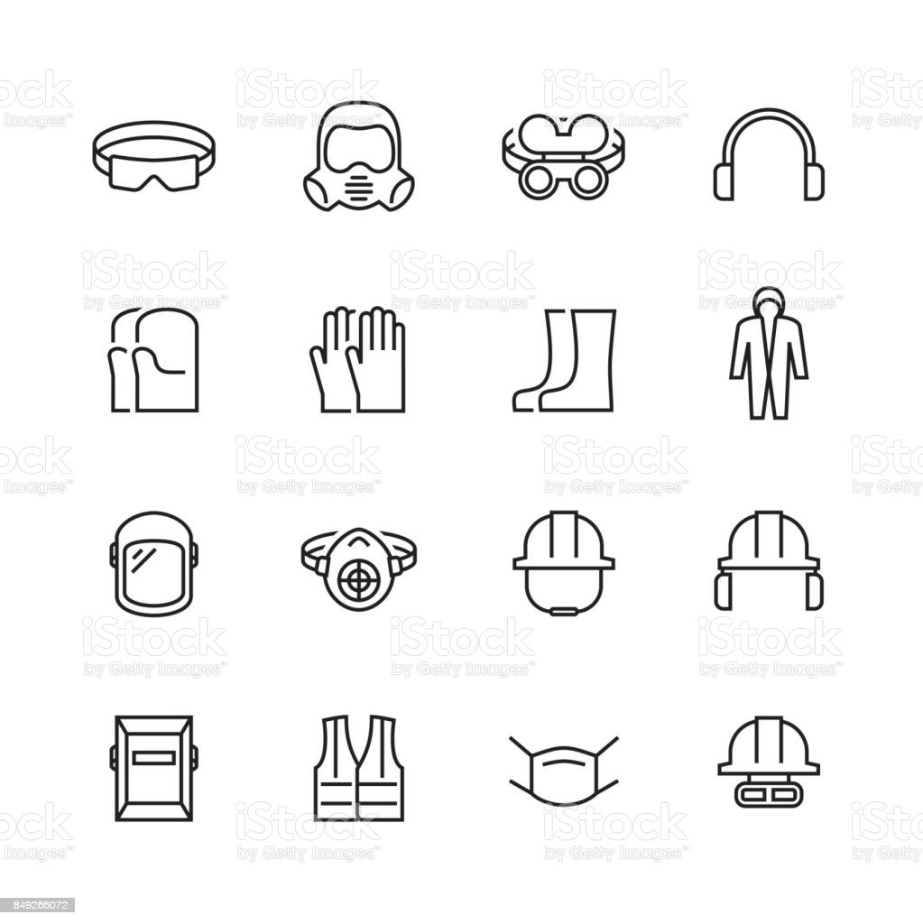 Vector job safety and protection icon set in thin line style vector art illustration