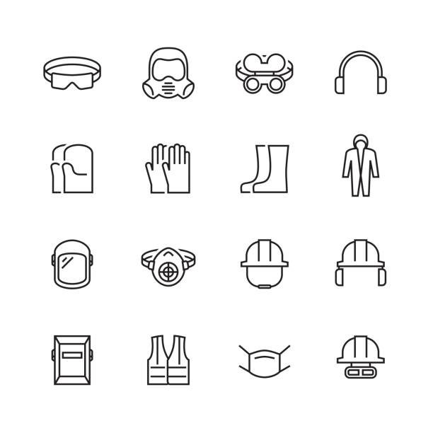 Vector job safety and protection icon set in thin line style Vector job safety and protection icon set in thin line style protective workwear stock illustrations