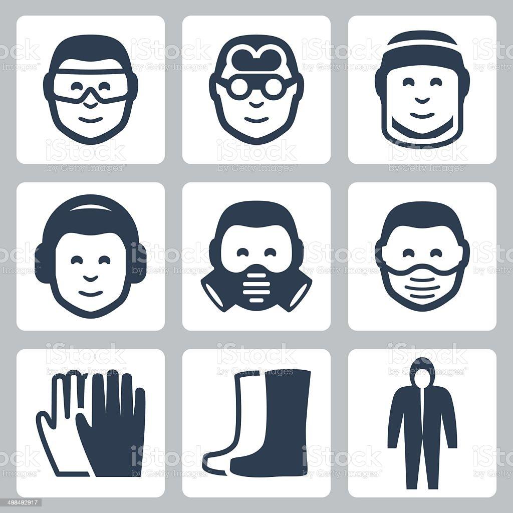 Vector job safety icons set vector art illustration