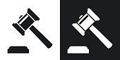 Vector judge gavel icon. Two-tone version