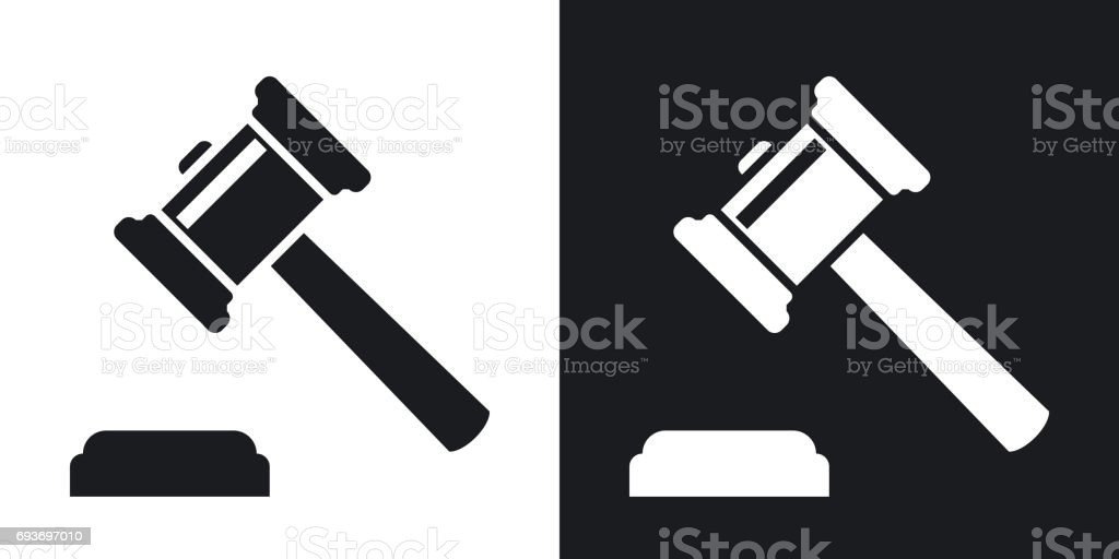 Vector judge gavel icon. Two-tone version vector art illustration