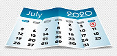 Vector July 2020 calendar on folded paper isolated