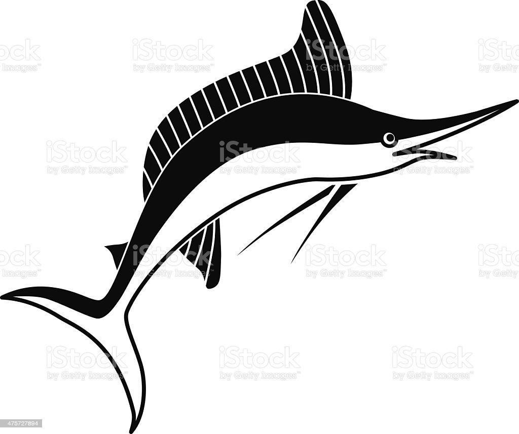 Ilustración De Salto Marlin Peces De Vector De Icono Plantilla En