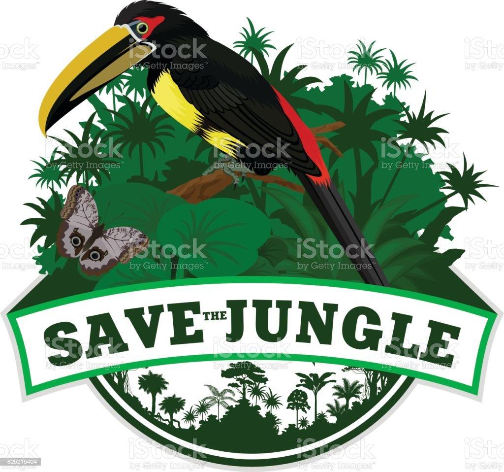 Selva Vector brasão de armas com borboleta e araçari-negro - ilustração de arte em vetor