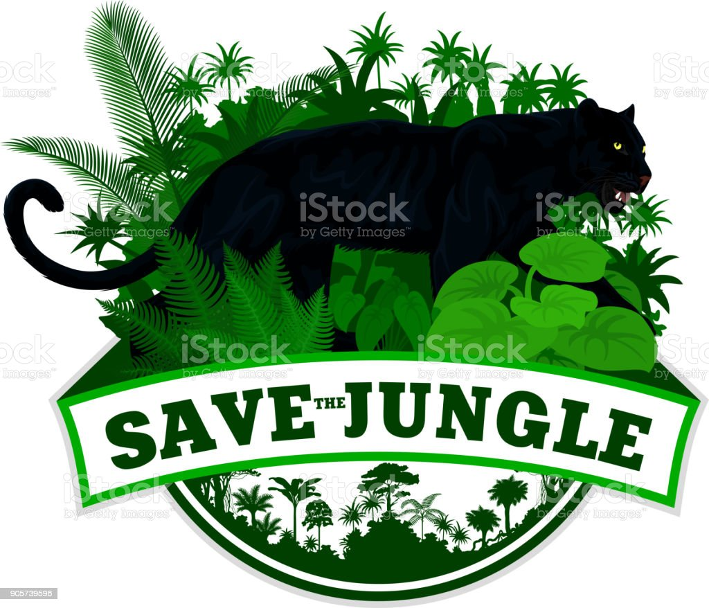Vector jungle emblem with black panther leopard jaguar vector art illustration