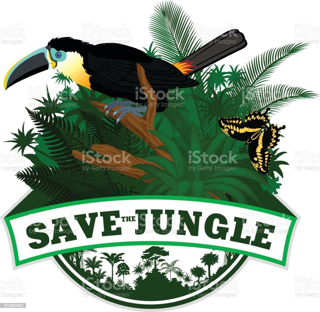 Selva Vector brasão de armas com borboleta e Tucano-de-bico-canal - ilustração de arte em vetor