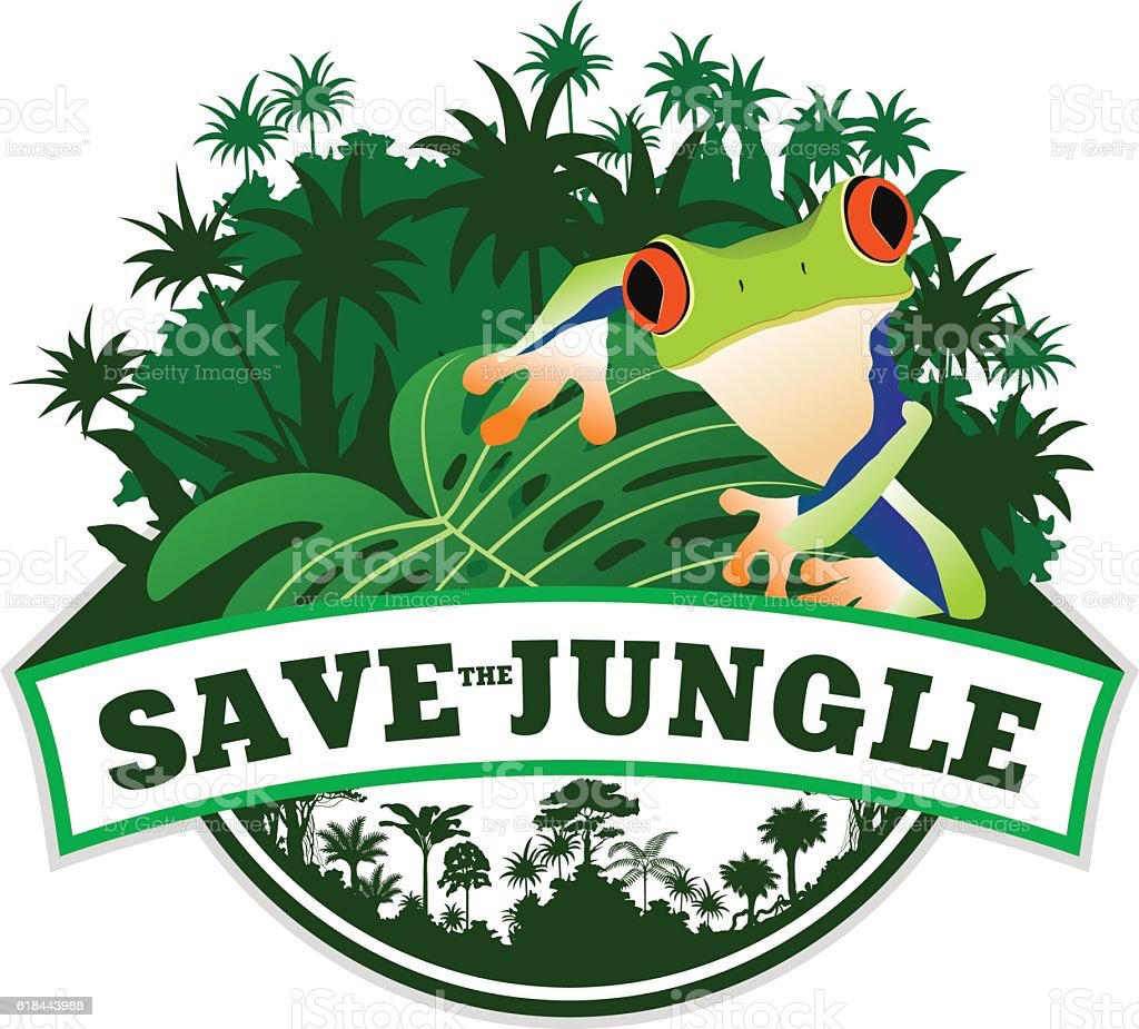 Vector Jungle Emblem with Frog vector art illustration