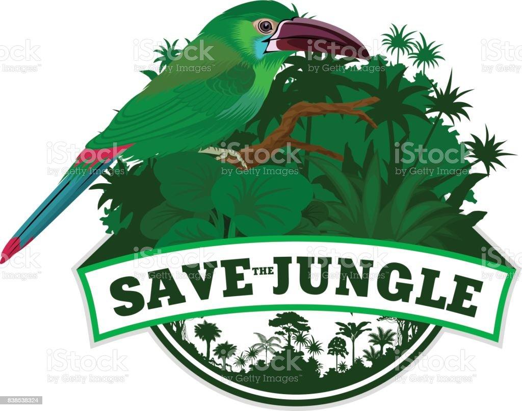 Selva Vector brasão de armas com Selenidera verde - ilustração de arte em vetor