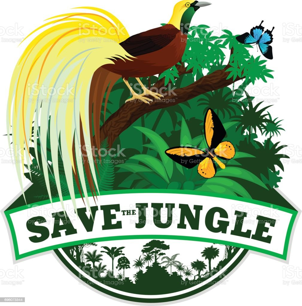 Vector Jungle Emblem with  Lesser Bird of Paradise and butterflies vector art illustration