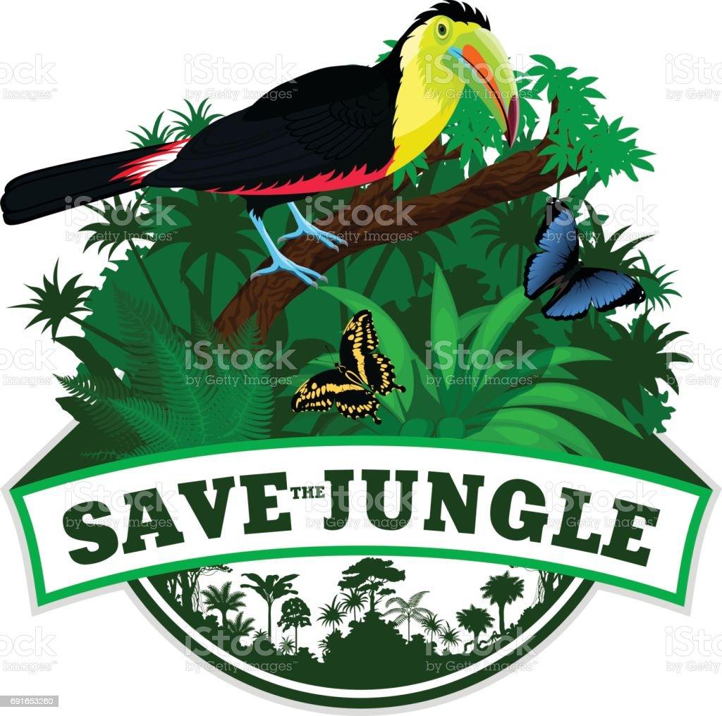 Selva Vector brasão de armas com borboletas e Tucano-de-bico-arco-íris - ilustração de arte em vetor