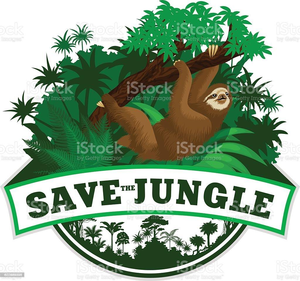 Vector Jungle Emblem with sloth vector art illustration