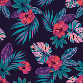 Vector jungle pattern, seamless design.