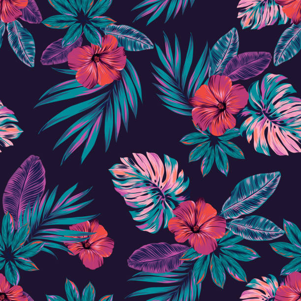 Vector jungle pattern, seamless design. Dark beautiful botanical elements, juicy colors, black background. Intricate vector illustrations,. editable elements, allover composition. tropical flower stock illustrations