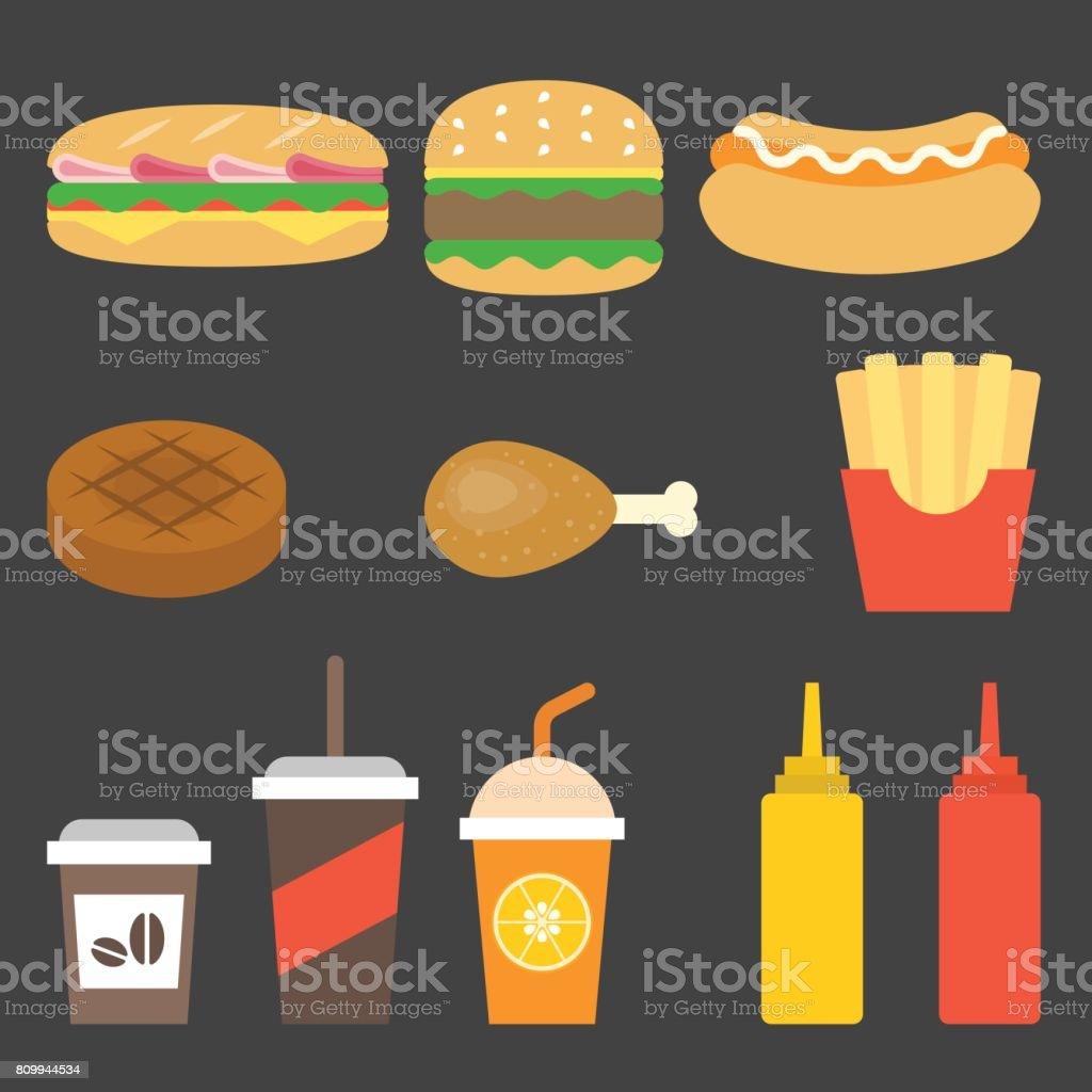 vector junk food icon vector art illustration