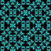 Vector kaleidoscope pattern with blue colors. Abstract geometric background for fashion print and textile wrapping. Good also for wallpaper.