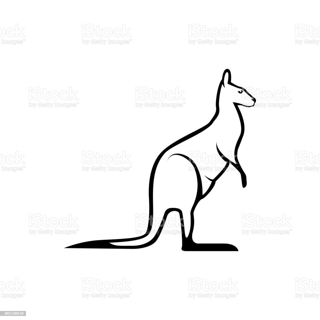 Vector Kangaroo Silhouette View Side For Retro Icons Emblems Badges Labels Template Vintage
