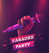 Vector karaoke party flyer or banner or poster design template with hand holding microphone. Realistic vector eps 10 illustration.