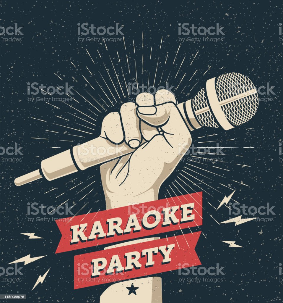 Vector Karaoke Party Invitation Flyer Poster Design Template For