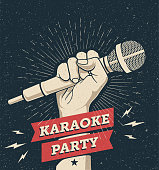 Vector karaoke party invitation flyer poster design template for your event. Hand holding microphone on dark background. Concept for a night club advertising Vintage styled vector eps 10 illustration