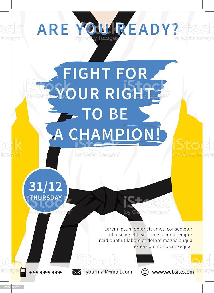 Vector Karate Competition Flyer Template With Slogan Stock Vector