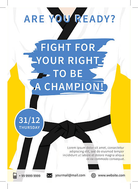 vector karate competition flyer template with slogan - martial arts stock illustrations