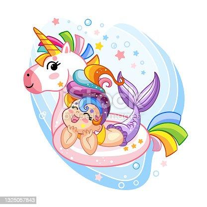 Vector kawaii and cute mermaid in inflatable circle