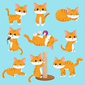 Ginger kittens. Cartoon characters.