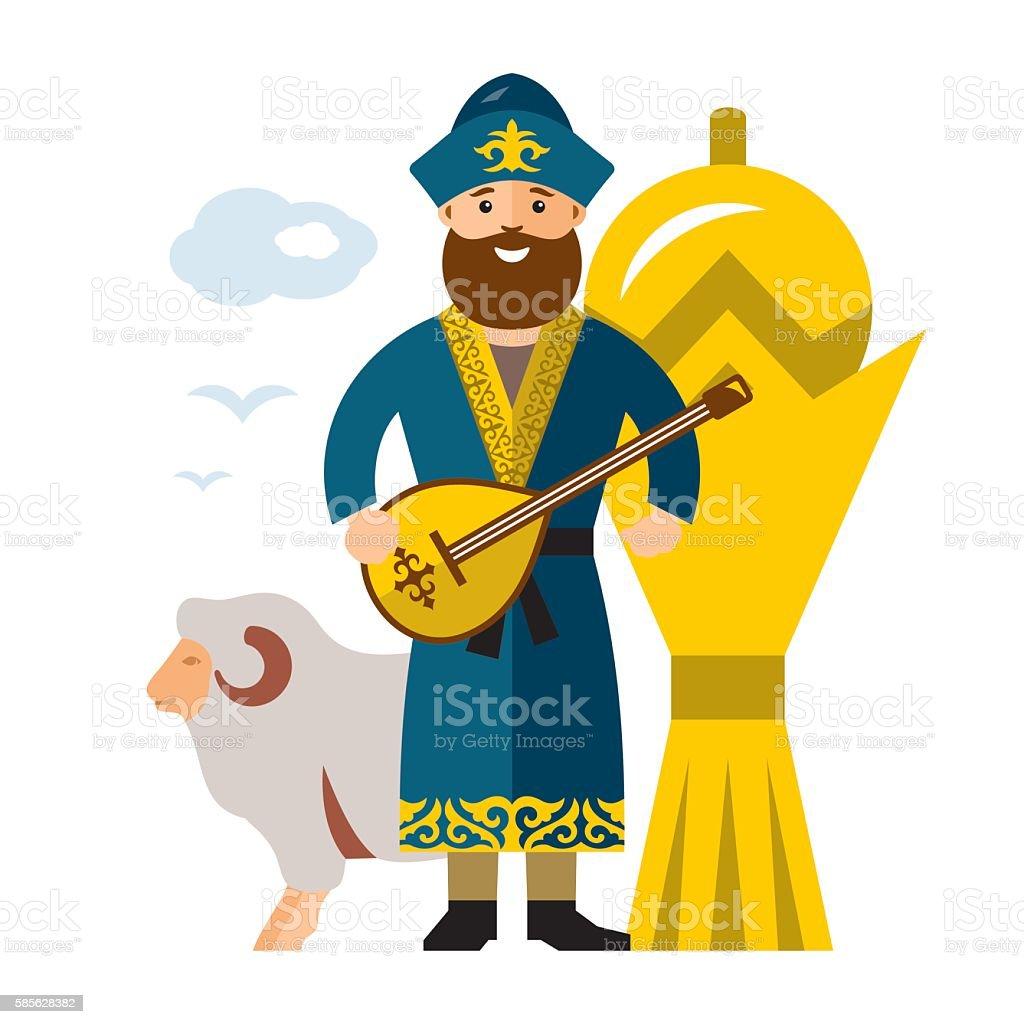 Vector Kazakh Man. Historical clothes. Kazakhstan. Flat style colorful Cartoon vector art illustration