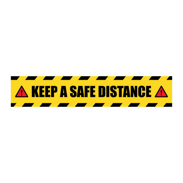Vector Keep a Safe Distance Sticker Label Vector Keep a Safe Distance Sticker Label distant stock illustrations