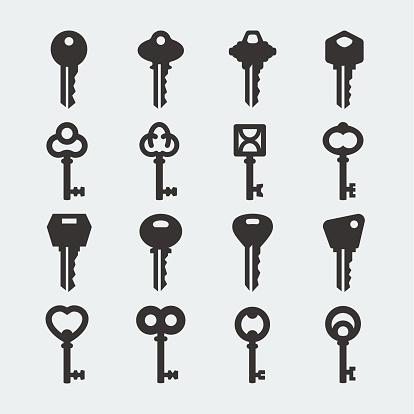 Vector key icons set