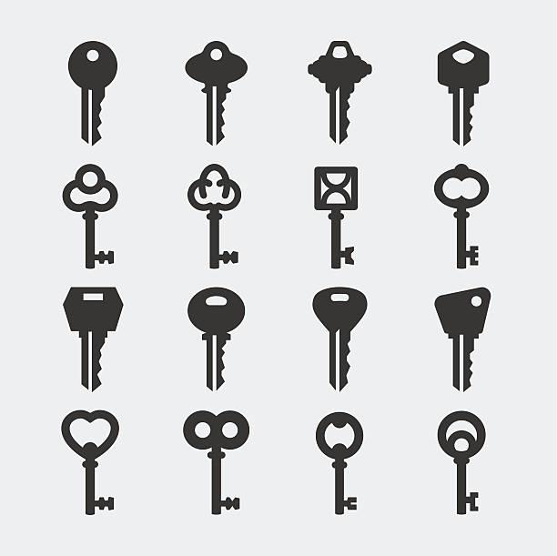 wektorowe ikony zestaw kluczy - klucz stock illustrations