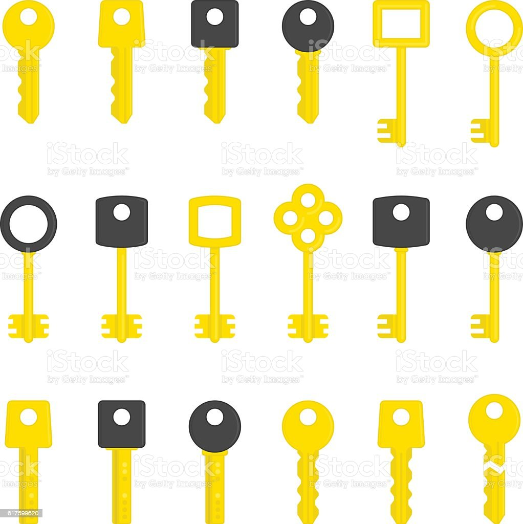 Vector key set. vector art illustration