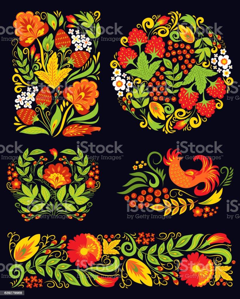 Vector khokhloma pattern design. vector art illustration