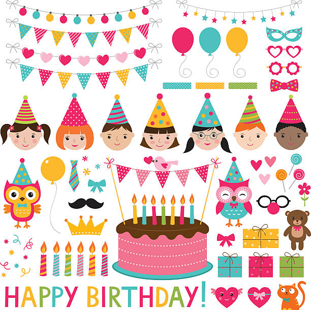 Vector kids birthday party set Vector kids birthday party set cake clipart stock illustrations