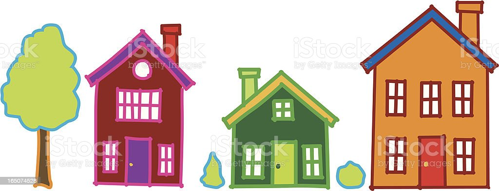 Vector Kids Colorful Houses royalty-free vector kids colorful houses stock vector art & more images of backgrounds
