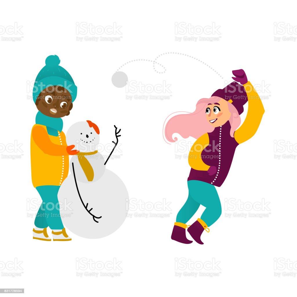 842f1f625 Vector Kids Having Fun Outdoors In Winter Set Stock Vector Art ...