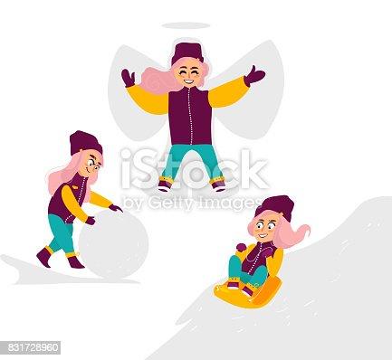 2b0c61c44 Vector Kids Having Fun Outdoors In Winter Set stock vector art ...