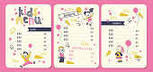 Vector kids menu design template with funny boy and girl characters, hand drawn stars, air balloons, menu in pink yellow colours. Flat style, vector illustration. For restaurants, cafe, fast food etc.
