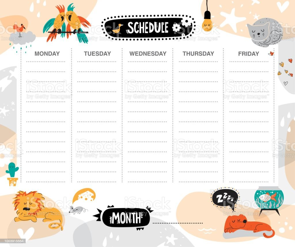 Vector kids schedule with cartoon animals and cute elements. Light...