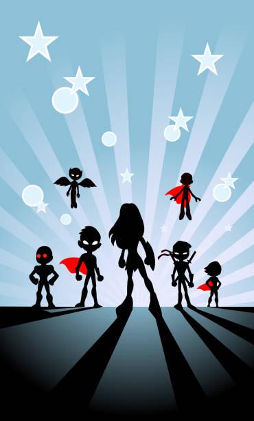Vector Kids Superhelden Team Silhouette mit Sunburst Hintergrund – Vektorgrafik